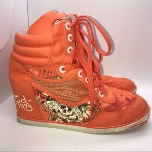 🎃 Don Ed Hardy wedge-heeled, high top sneakers